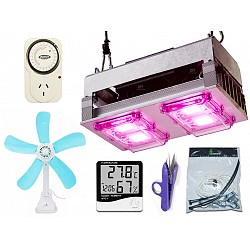 Panel Led Growtech 200w Ventilador Timer Accesorios Indoor